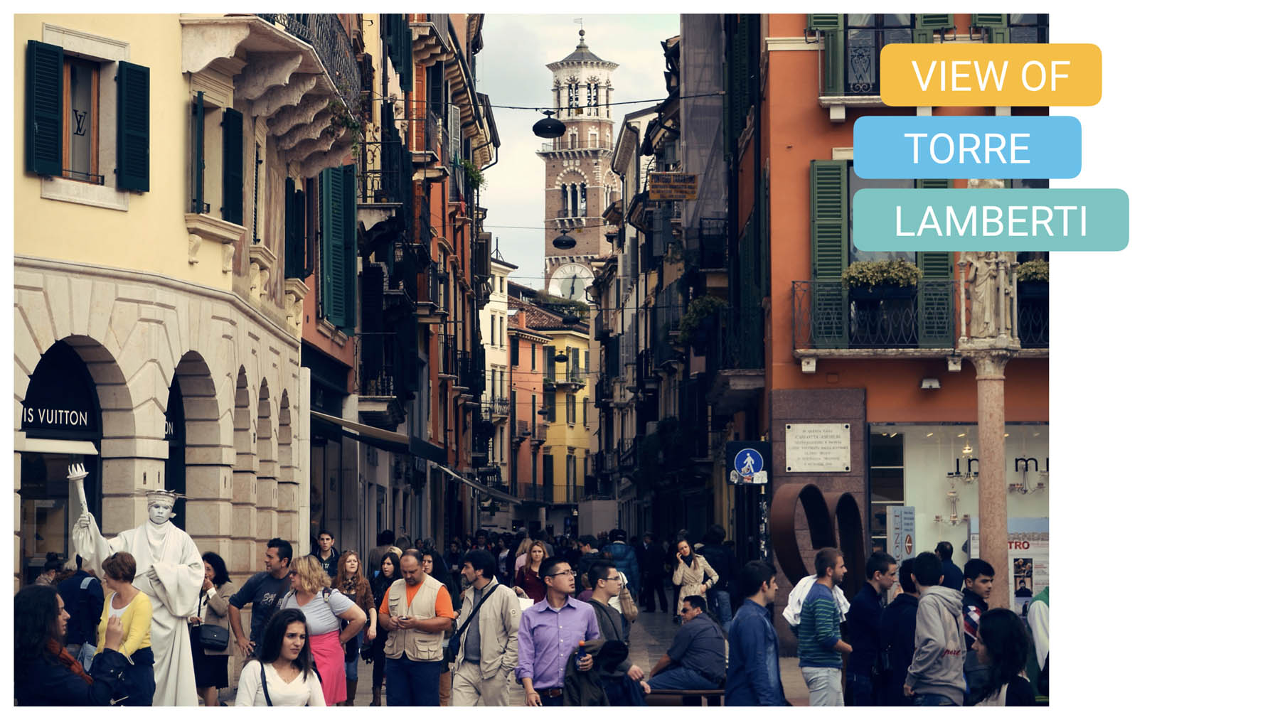 view of torre lamberti verona bike tour